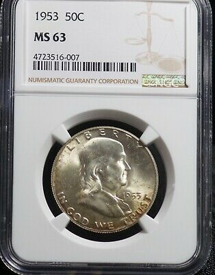 NGC 1953 MS 63 Franklin Silver Half Dollar 50C Uncirculated Coin