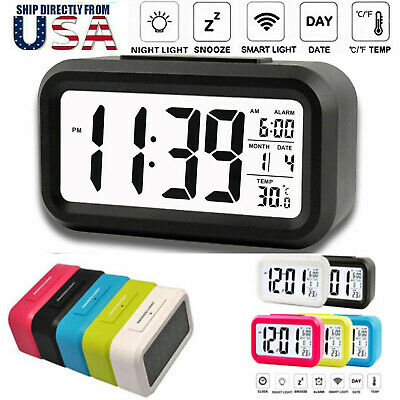 Digital LCD Snooze Electronic Alarm Clock with LED Backlight Light Control US RF