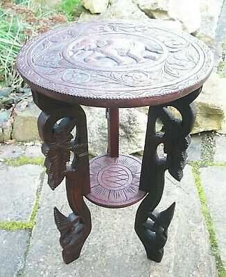 Antique  Anglo/Indian Fully Carved 2 Tiered Wooden  Table