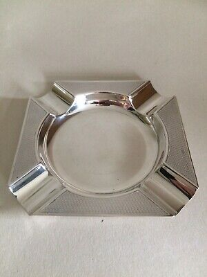 Sterling Silver Engine Turned Cigar/cigarette Ashtray