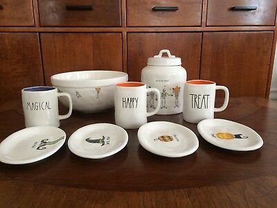 Rae Dunn Happy Halloween Canister, Plates, Mixing Bowl And Mugs