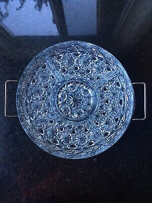 Very Pretty Vintage Silverplate with Glass Divided Dish