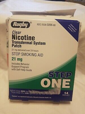 RUGBY Box of 14 STEP ONE 21mg CLEAR Nicotine Transdermal Patches EXP 02/2021