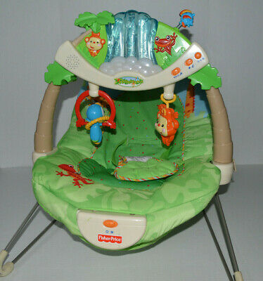 Fisher Price RAINFOREST Bouncer LIGHTS, Music, NATURE Sounds AWESOME Very HTF