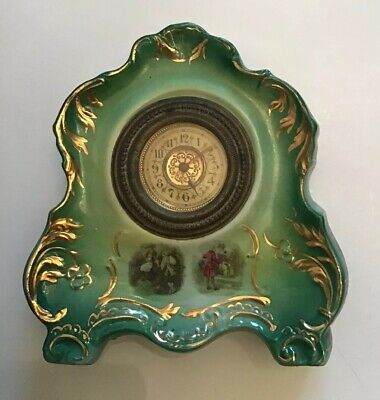 Antique Bedroom Clock, Green With Pretty Gold Colour Patten On.