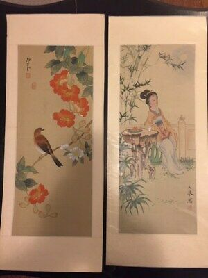 Lot of 2 Vintage/antique Chinese watercolour paintings on silk