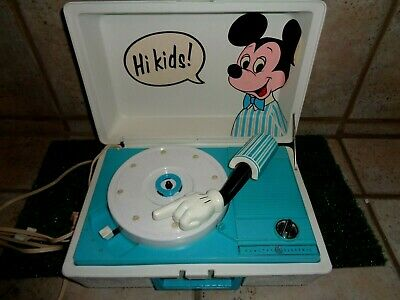 Mickey Mouse General Electric 1970's 33's & 45's Record Player Walt Disney #2409