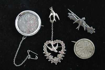 4 x True Vintage .925 Sterling Silver SWALLOW BROOCHES inc. Art Nouveau (21g)