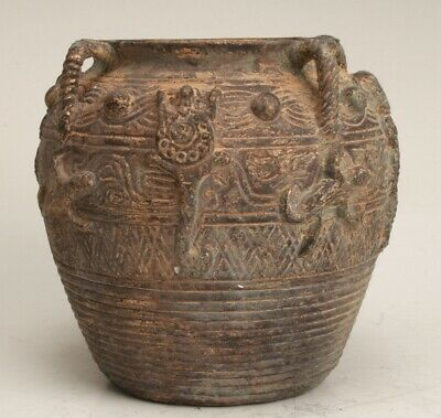 Chinese Bronze Handmade Carving Jar Collection Gift Decoration