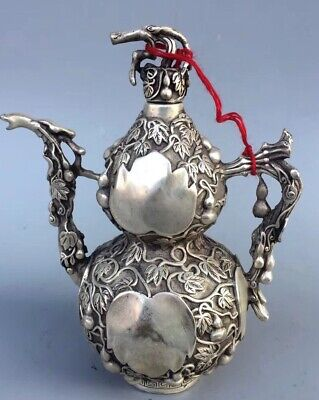 Chinese Collectable Handwork Miao Silver Carve Goud Shape Souvenir Old Teapot