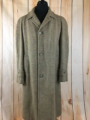 fast color select for authentic unparalleled VINTAGE HARRIS TWEED Scottish Wool Overcoat Trench Coat Jacket Men's 42  Large