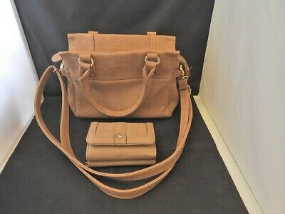 d9e54baa36 MARIKAI Small Beige Tan Handbag Shoulderbag BONUS Purse