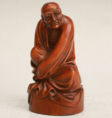 Chinese  Boxwood Handmade Carving Old Man Statue Collection Gift Decoration