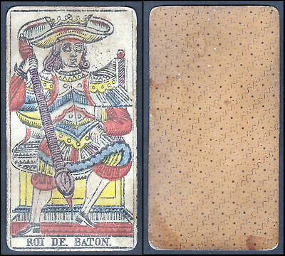 Original 18th century playing card carte a jouer Spielkarte Tarot Roi de Baton