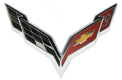 2014-2018 C7 Corvette OEM Chrome Front Hood Crossed Flags Emblem GM 23168616