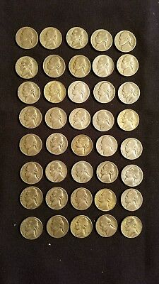 Full Roll ( 40 coins ) War Nickels,  35% Silver, Jefferson Nickel Coins
