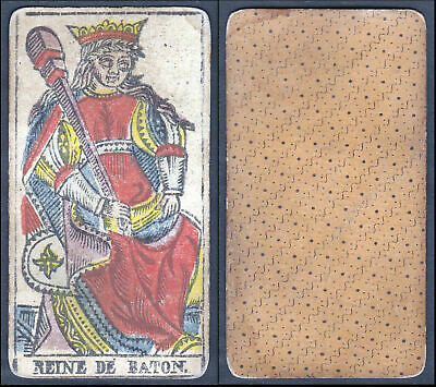 Original 18th century playing card carte a jouer Spielkarte Tarot Reine de Baton