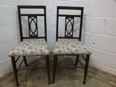 PAIR Of EDWARDIAN MAHOGANY BEDROOM /HALL CHAIRS With an INLAID DESIGN