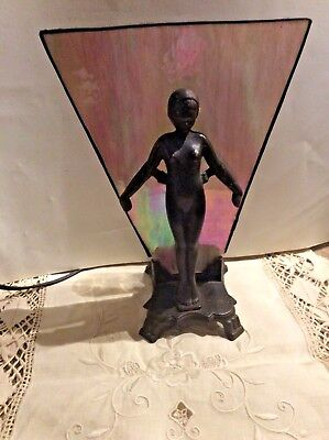 Cast Nude Nymph  Lamp With Irridescent Stain Glass Panel