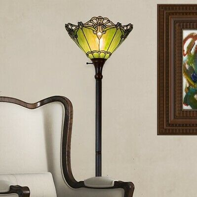Tiffany Style Stained Glass Floor Lamp Iris Floral Torchiere Shade