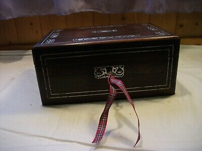 Antique wooden box M.O.P. and pewter inlay