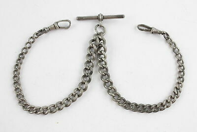 Vintage .925 Sterling Silver GRADUATED DOUBLE ALBERT CHAIN w/ T Bar (34g)