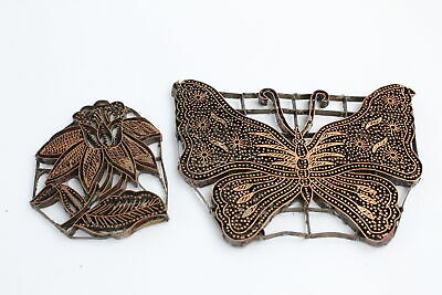 Vintage Iron Copper Indonesian Batik TJAP (Chop) Butterfly & Flower Stamp (282g)
