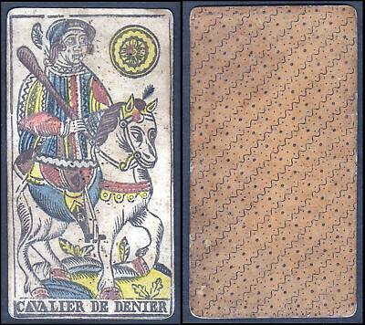 18th century playing card carte a jouer Spielkarte Tarot Cavalier de Denier