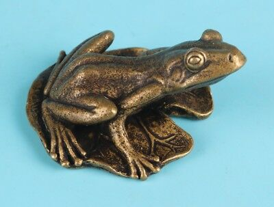 Unique Chinese Bronze Animal Statue Frog Lotus Leaf Solid Home Decoration Gift