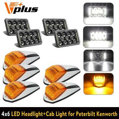 4X DOT 4x6inch 60W LED Headlights DRL, 5pcs Yellow Marker Light for Freightliner