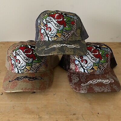 Lot Of 3 Ed Hardy Skull & Bones Glitter Do Or Die Mesh Trucker Hat Cap Tattoo