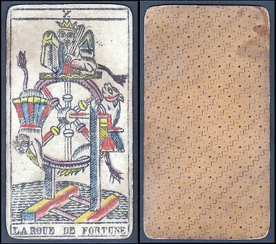 Original 18th century playing card carte a jouer Spielkarte Tarot Roue Fortune