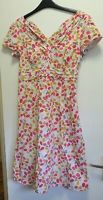 BODEN White Abstract Grey Pink & Mustard Yellow Leaf & Branch Print Dress -10