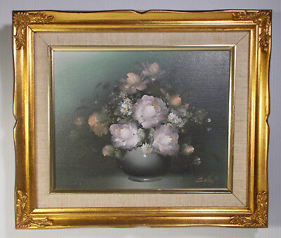Floral Oil Painting Still In Vase Signed Art