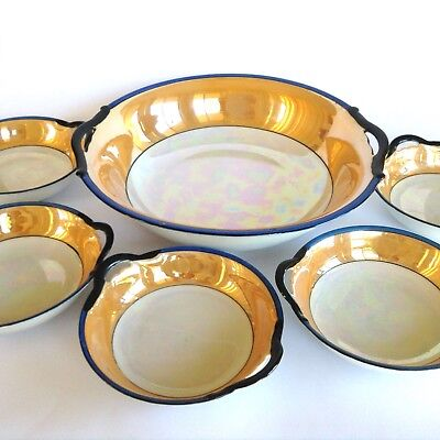ANTIQUE 1920s UNMARKED NORITAKE PORCELAIN LUSTREWARE ART DECO DESSERT BOWL SET