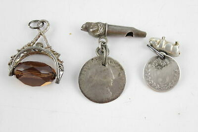 3 x Vintage & Antique Watch Chain FOB CHARMS inc. Dog Head Whistle, Coins (13g)