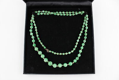 Vintage 9ct GOLD Clasped, Apple Green JADE Knotted BEAD NECKLACE 92.5cm (51g)