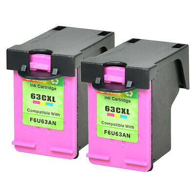 2 PK 63XL Color Ink Cartridge for HP OfficeJet 5255 5258  ENVY 4520 W/New Chip