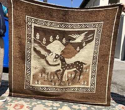 Auth:  19th C Antique Mongolian Rug  Rare 5x5 Pictorial   Glossy wool Beauty  NR