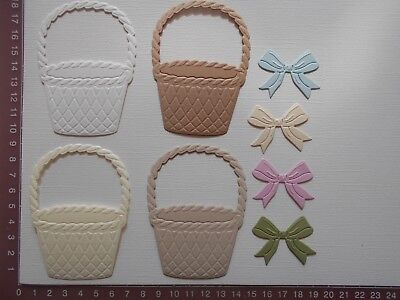 Die cuts - Baskets and Bows - Embossed x 8 pieces Birthday Easter