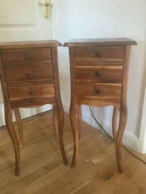 Pair Of Teak Wood Bedside Tables Cabinets Occasional