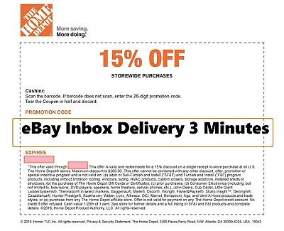 ONE 1X Home Depot 15% OFF Coupon -Instore ONLY Save MAX $200 SENT FAST~3mins~