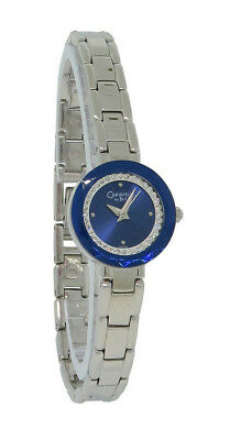 Caravelle by Bulova 43L122 Women's Round Clear Crystal Beveled Blue Lens Watch