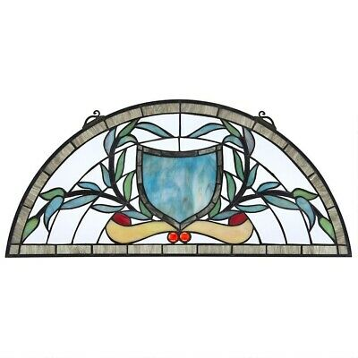 "24""x11"" Sky Blue Coat of Arms Tiffany Style Stained Glass Half Moon Window Panel"