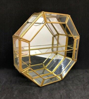 Vtg Atq Brass Octagon Curio Mirror Jewelry Display Box Glass Assemblage Craft