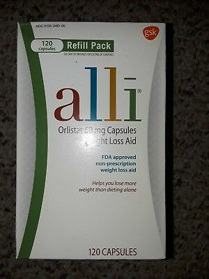 ALLI ORLISTAT60mg WEIGHT LOSS REFILL PACK 120 CAPSULES EXPIRES 2/20 *NEW/SEALED!