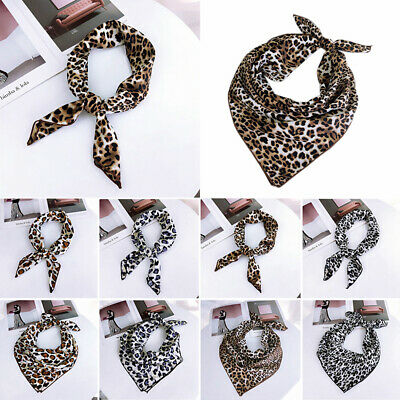 New Women's Sexy Leopard Square Scarf Silk Feel Satin Bandana Neck Tie Hair Band