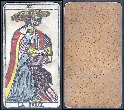 Original 18th century playing card carte a jouer Spielkarte Tarot La Force