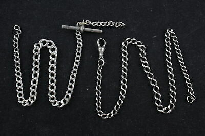 2 x Vintage .925 Sterling Silver GRADUATED WATCH CHAINS (46g)
