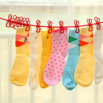 Portable 12 Clips Drying Rope Drying Rack Clothes Pegs Travel Clothes Hook NB